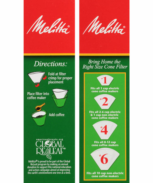 Melitta #4 Filters White Directions