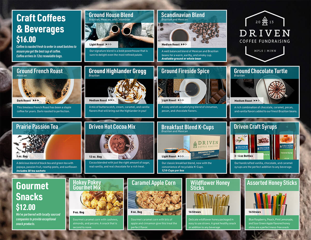 Driven Coffee Fundraising Product Lineup